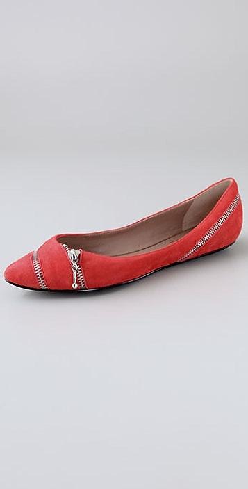 Belle by Sigerson Morrison Suede Zip Flats