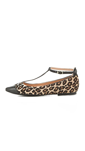 Belle by Sigerson Morrison Variee Haircalf T-Strap Flats