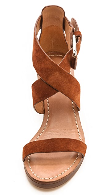 Belle by Sigerson Morrison Afton Cross Strap Suede Sandals
