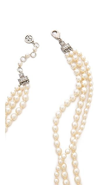 Ben-Amun Crystal Flower Imitation Pearl Necklace