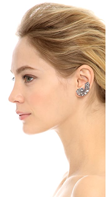 Ben-Amun Asymmetrical Statement Crystal Earrings