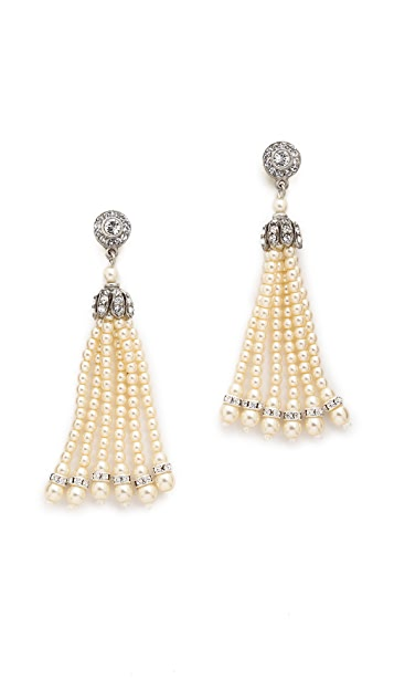 Ben-Amun Imitation Pearl Tassel Earrings