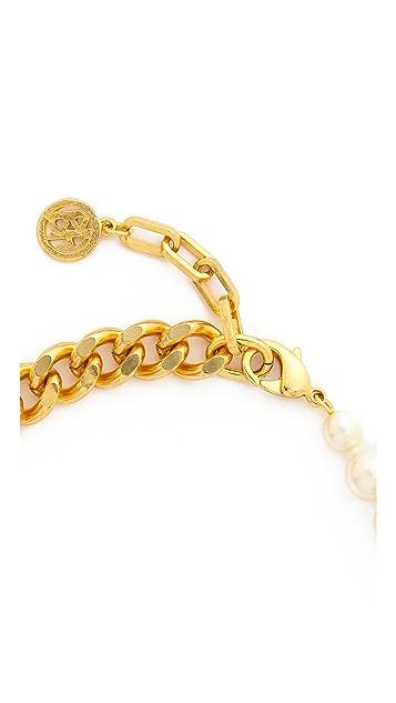 Ben-Amun Imitation Pearl & Chain Necklace
