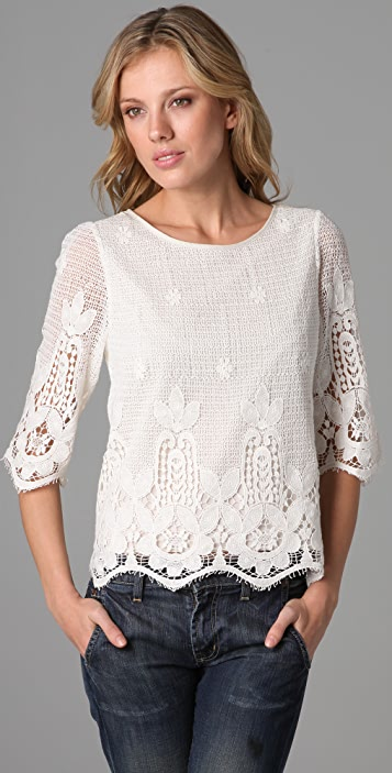 Beyond Vintage Embroidered Lace Blouse