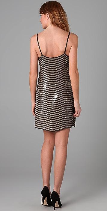 Beyond Vintage Sequined Stripe Mini Dress