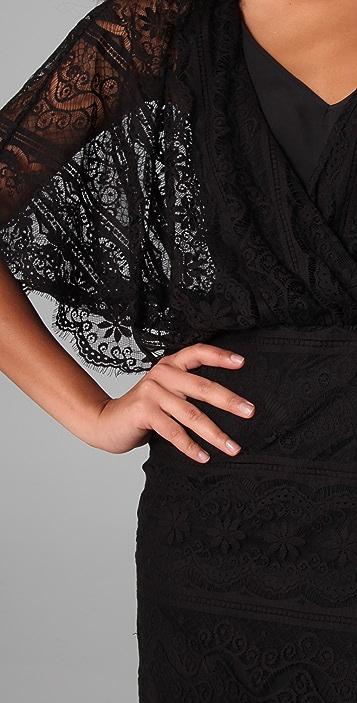 Beyond Vintage Lace Batwing Mini Dress