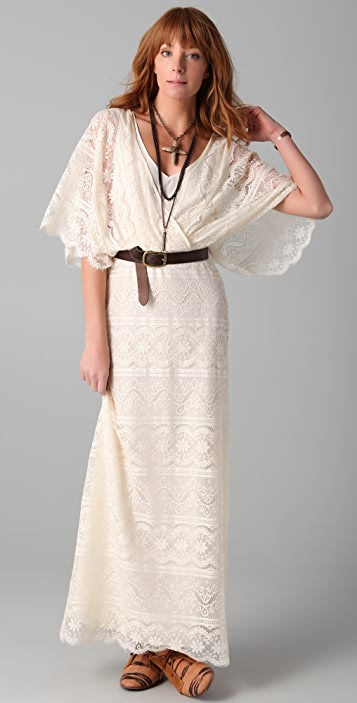 Beyond Vintage Blouson Lace Gown