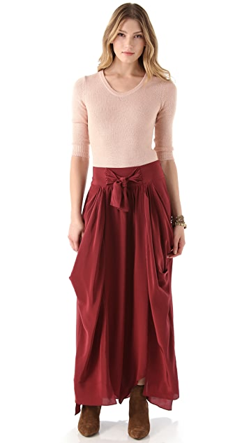 Beyond Vintage Draped Skirt with Tie Waist