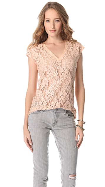 Beyond Vintage V Neck Lace Tee