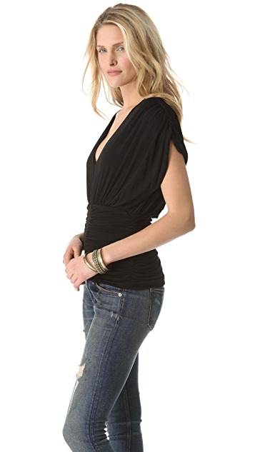 Beyond Vintage Ruched V Neck Top