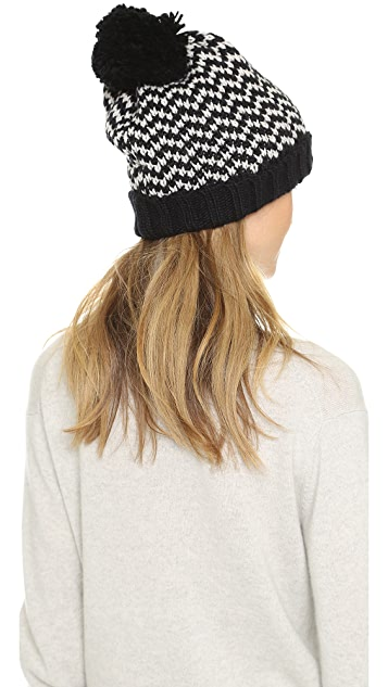 Bickley + Mitchell Chevron Pom Pom Beanie