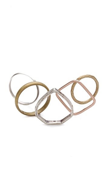 Bing Bang Teardrop Mixed Ring Set