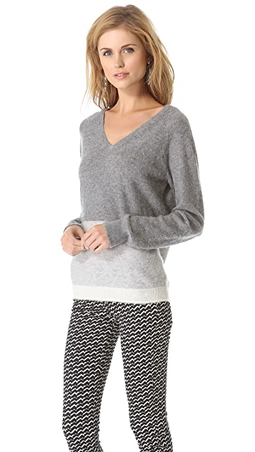 Birds of Paradis by Trovata Two Tone V Neck Sweater