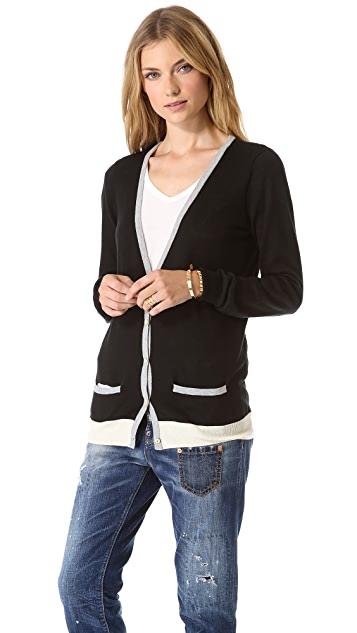 Birds of Paradis by Trovata Two Tone V Neck Cardigan
