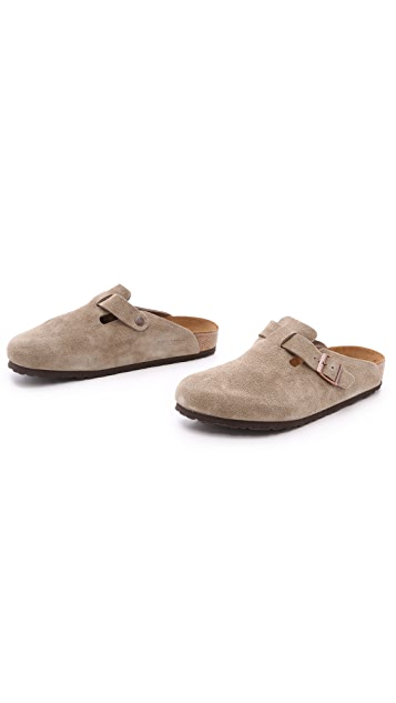 Birkenstock Suede Soft Footbed Boston Clogs