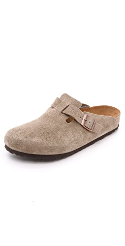 Birkenstock - Suede Soft Footbed Boston Clogs