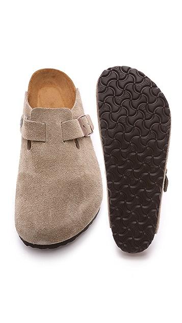 Birkenstock Suede Soft Footbed Boston Clogs