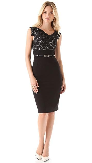 Black Halo Two Tone Lace Jackie O Dress