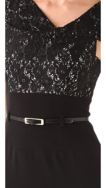 Black Halo Two Tone Lace Jackie O Dress