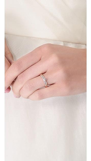 blanca monros gomez Pave Diamond Solitaire Ring