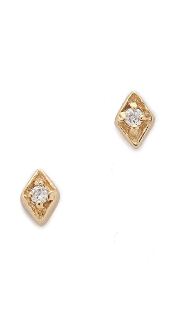 blanca monros gomez Tiny Diamond Filigree Stud Earrings