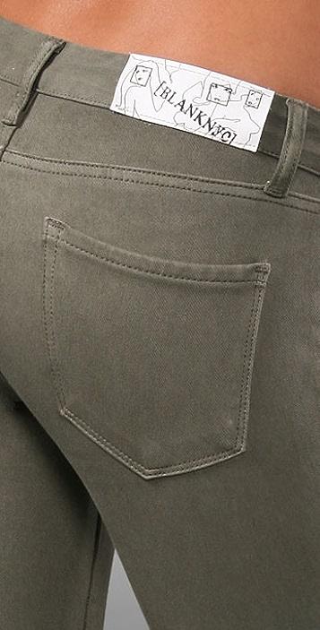 Blank Denim Knit Skinny Pants with Zippers