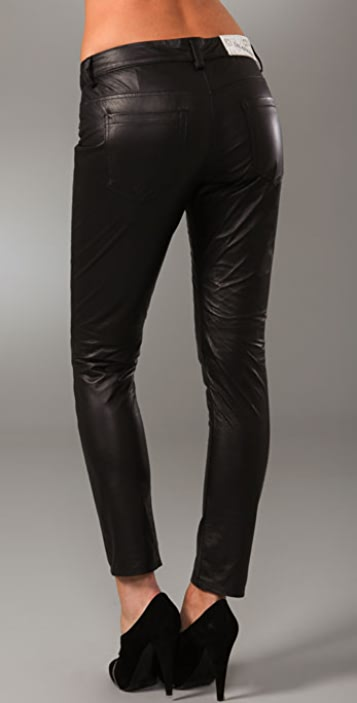 Blank Denim Leather Skinny Pants