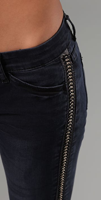 Blank Denim Skinny Jeans with Chain Detail