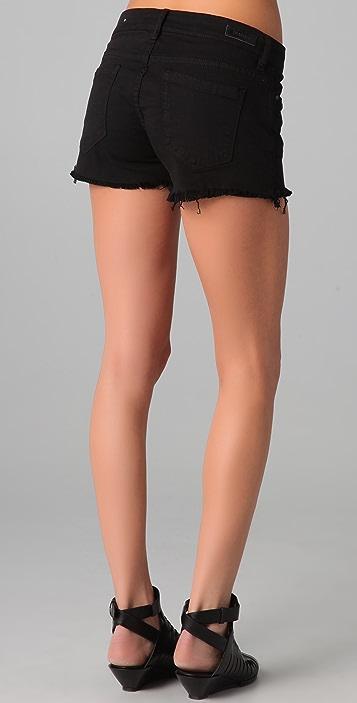 Blank Denim Semi Fit Shorts with Raw Hem