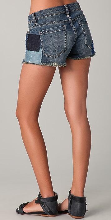 Blank Denim Denim Patchwork Cutoff Shorts