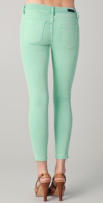 Blank Denim Spray On Skinny Jeans with Side Zip