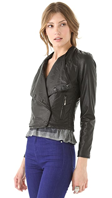 Blank Denim Vegan Leather Biker Jacket