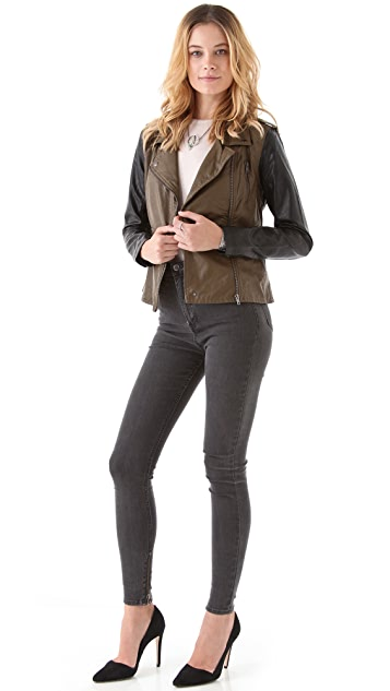 Blank Denim Vegan Two Tone Leather Jacket