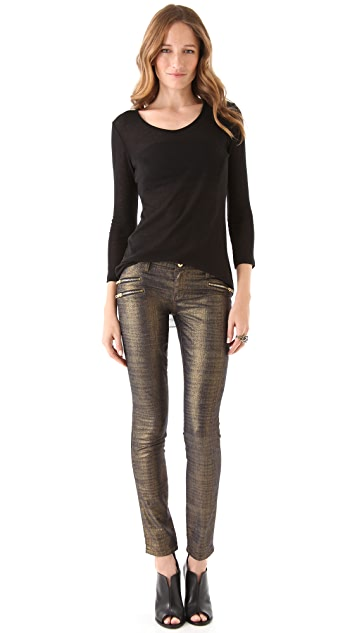 Blank Denim Gold Foil Zip Skinny Jeans