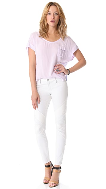 Blank Denim Combo Skinny Jeans with Vegan Leather