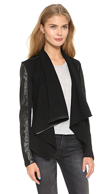 Blank Denim Vegan Leather & Ponte Jacket
