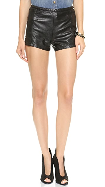 Blank Denim Faux Leather Shorts