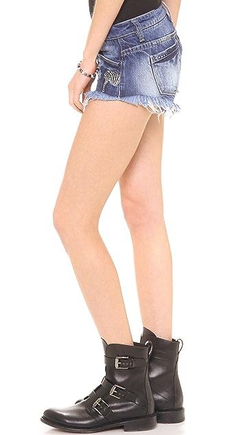 Blank Denim Mini Cutoff Shorts with Zebra Embroidery