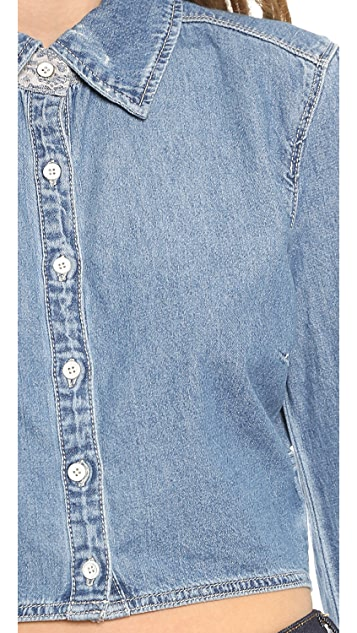 Blank Denim Cropped Denim Button Down