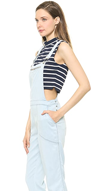 Blank Denim Overalls with Mesh
