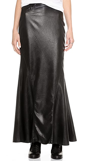 Blank Denim Vegan Leather Mermaid Maxi Skirt