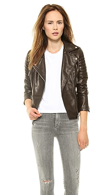 Blank Denim Imitation Leather Jacket