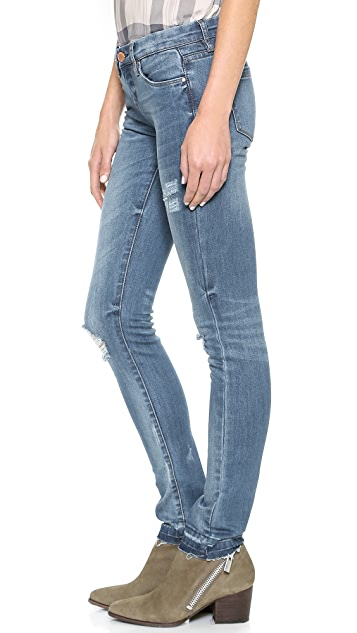 Blank Denim Skinny Jeans with Frayed Hem