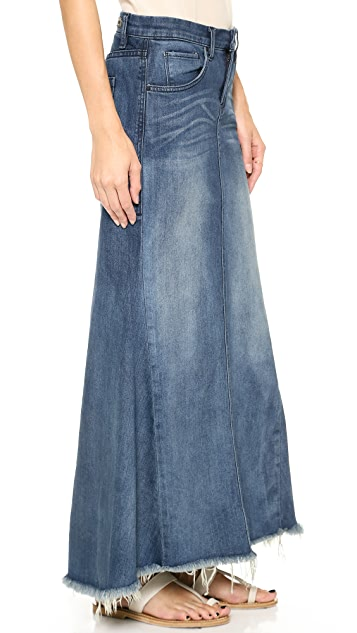 Blank Denim Denim Skirt with Selvedge Hem