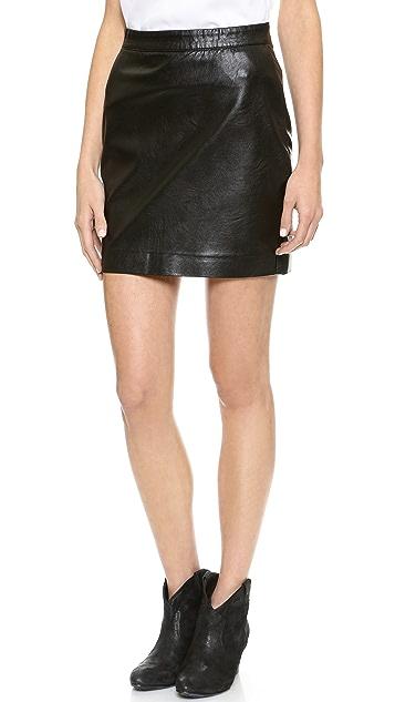 Blank Denim Vegan Leather Miniskirt