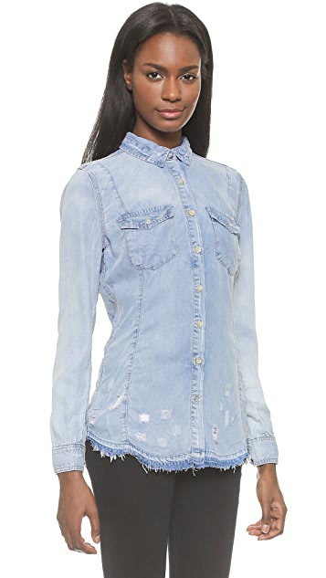 Blank Denim Frayed Chambray Button Down