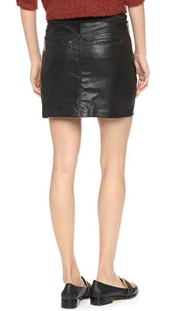 Blank Denim Vegan Leather Miniskirt