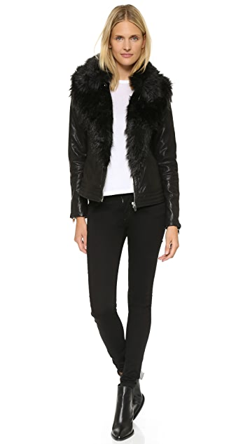 Blank Denim Vegan Leather & Faux Fur Jacket