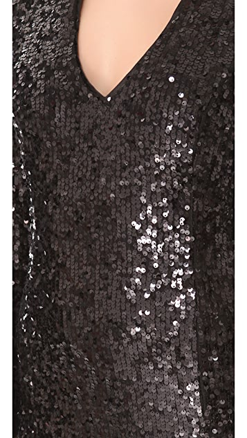 Blaque Label Sequined V Neck Dress