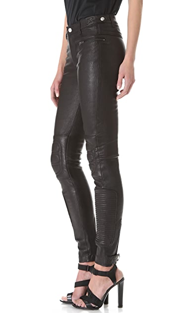 BLK DNM Leather Biker Pants With Padded Knees